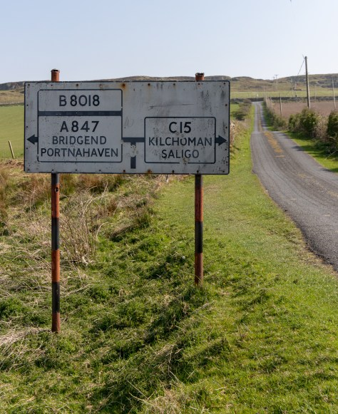 Road sign, Islay