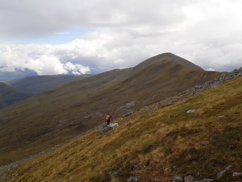 Descending Coire a' Chaorainn, looking towards south top of Gulvain