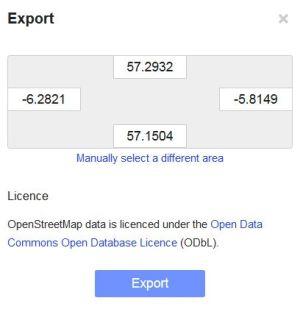 OSM Export Dialogue