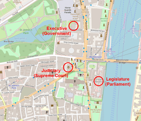 Westminster, showing separation of powers