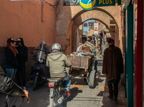 Marrakesh souk traffic