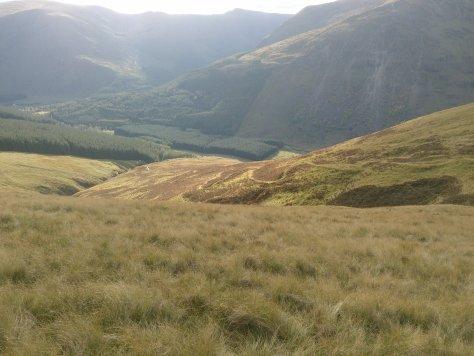 Capel Mounth track descending into Glen Clova