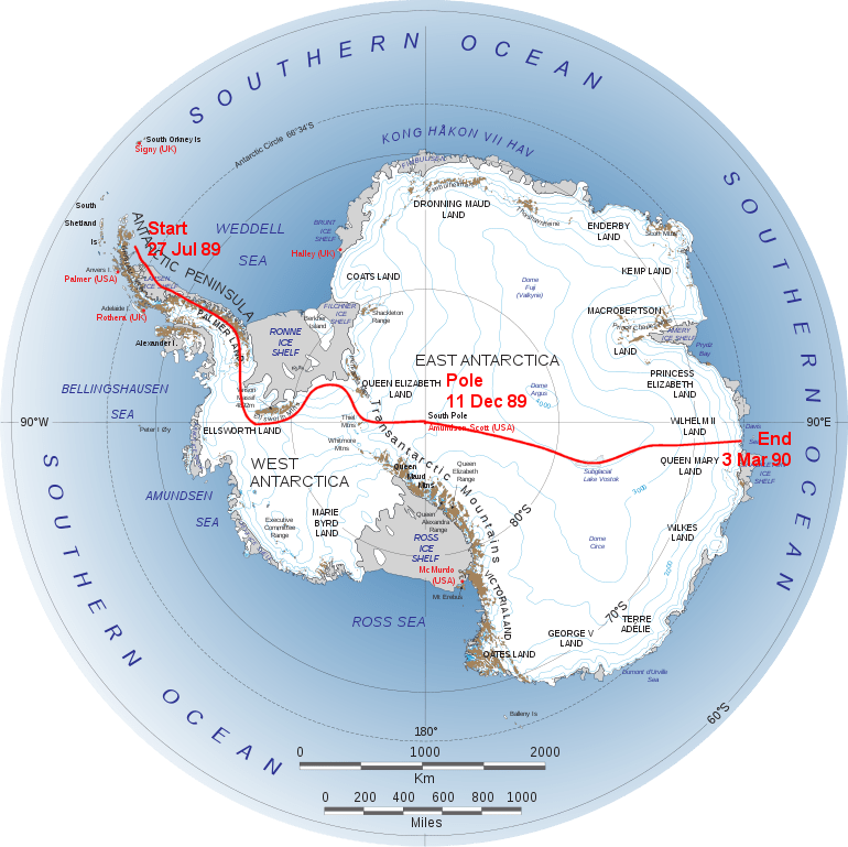 Route of International Trans-Antarctic Expedition 1989-90