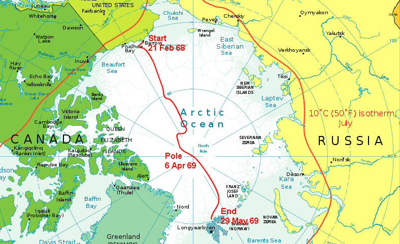 Route of British Trans-Arctic Expedition 1968/69