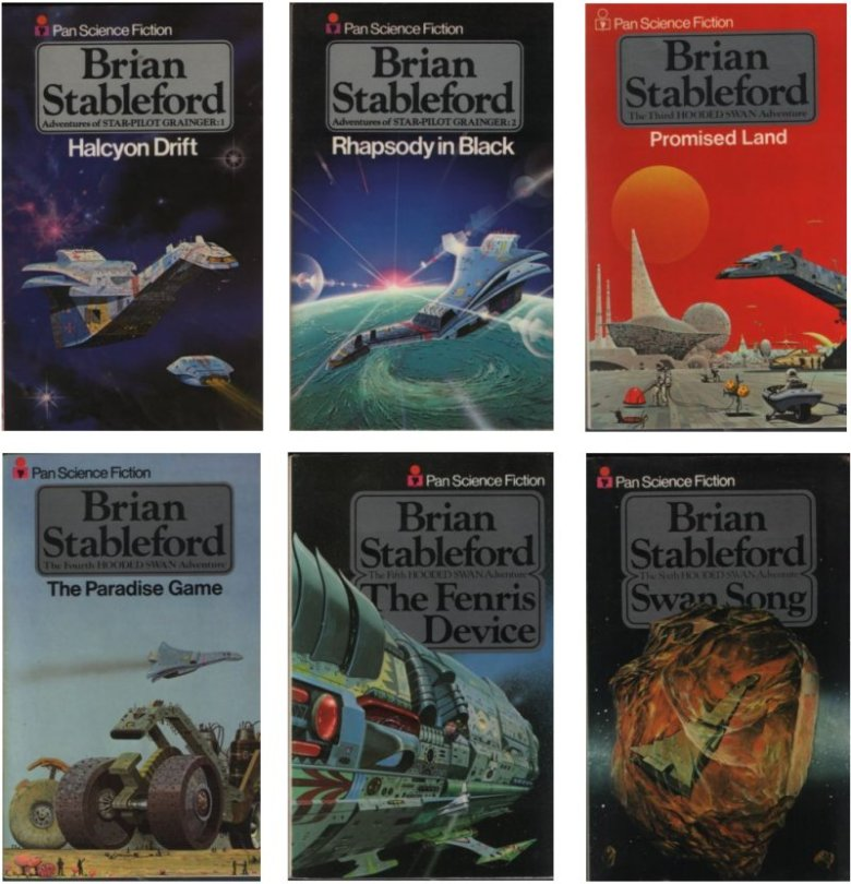 Covers of the 'Hooded Swan' series by Brian Stableford