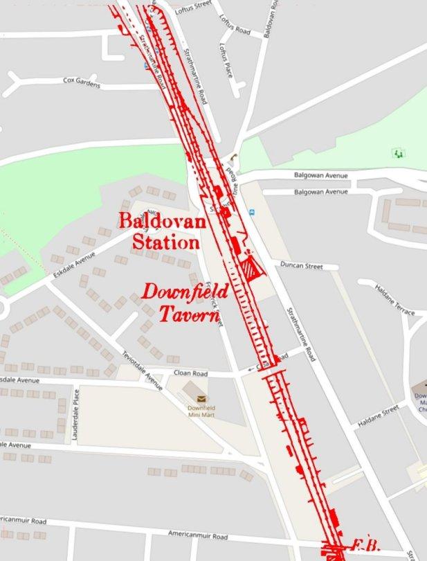 Location of Baldovan Station, Dundee-Newtyle Railway