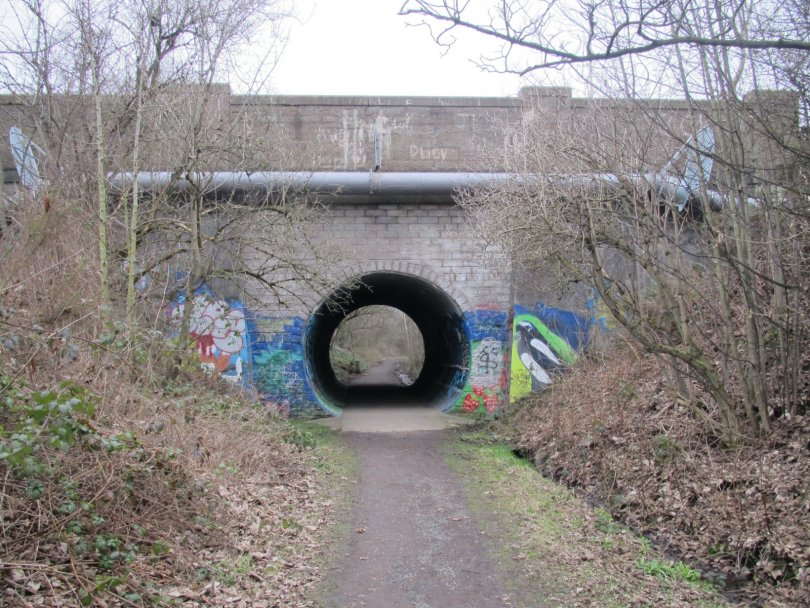 Harestane Road crosses The Miley, Dundee