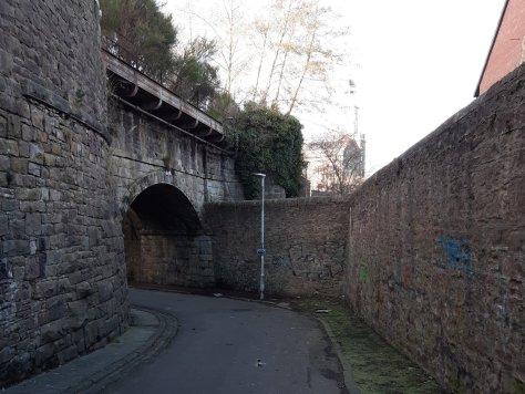 Railway bridge on old Camperdown Works line, Wellbank Lane, Dundee