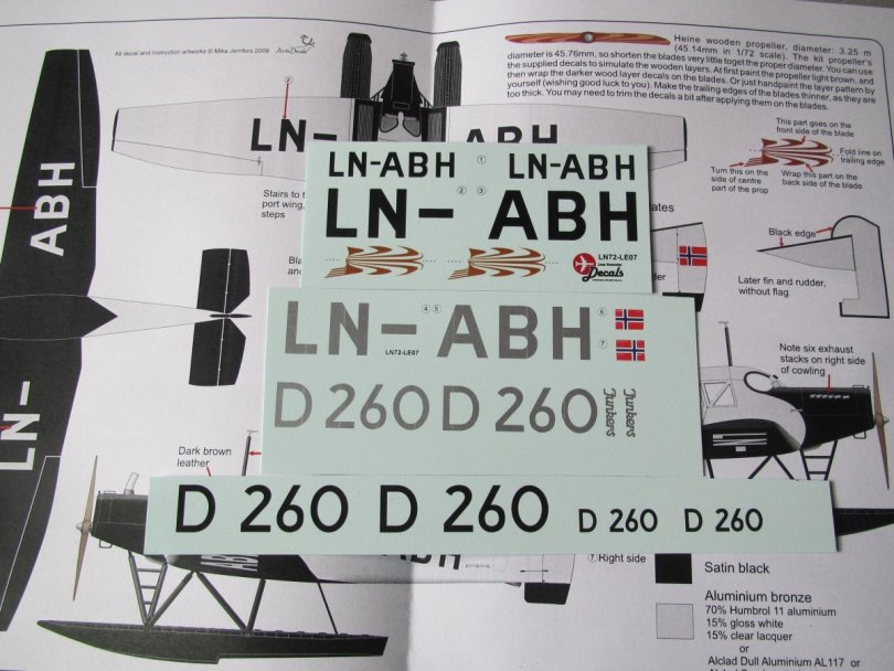 Arctic Decals sheet for Junkers F13 LN-ABH and D260