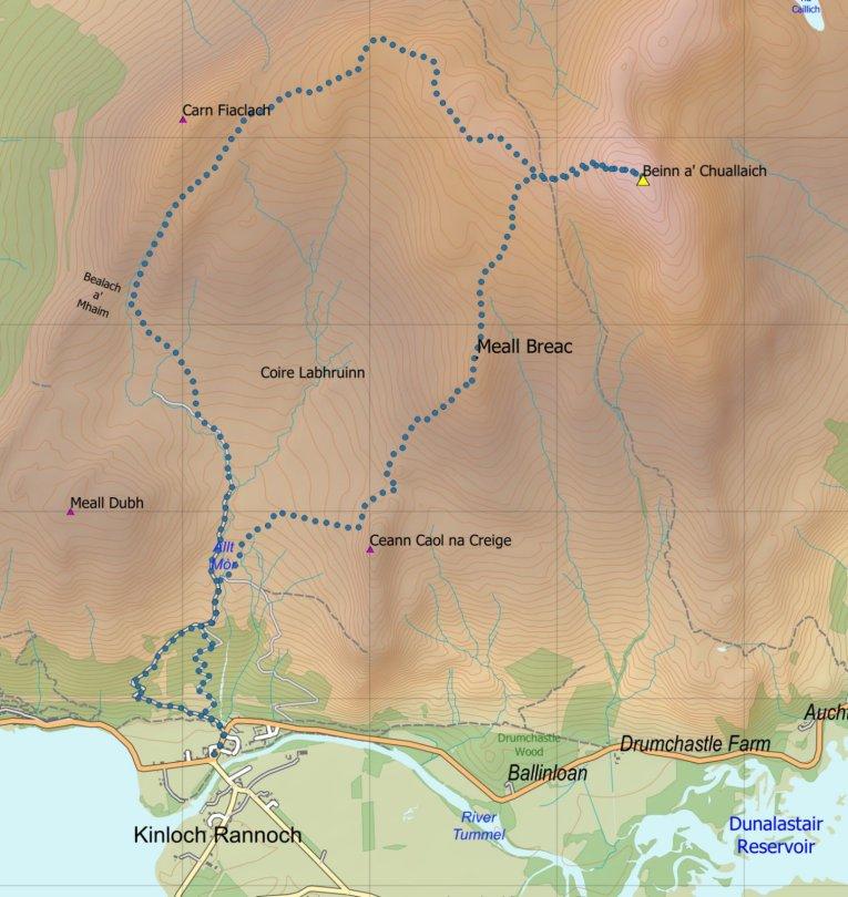 Beinn a' Chuallaich route