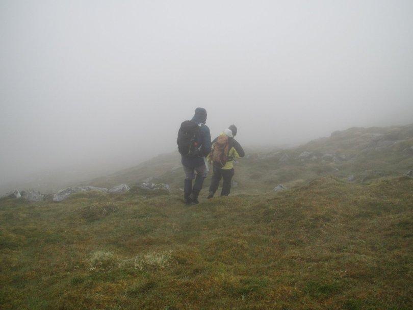 Descending Beinn a' Chuallaich in mist