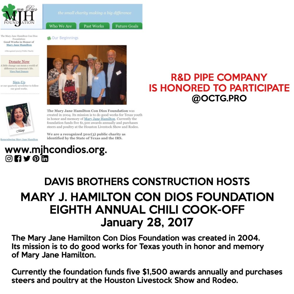 Mary J. Hamilton Con Dios Foundation Chili cook-off | R&D Pipe Company octg.net