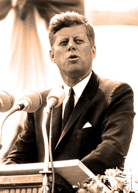 President Kennedy - stressing the importance of education in a free society.