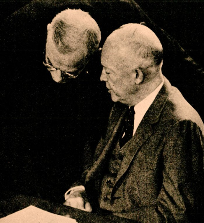 Pres. Eisenhower with Sec. of State Dulles - shoring up a lot of sagging support overseas.