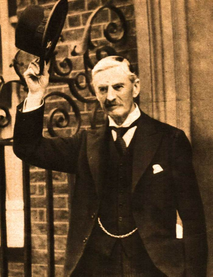 Neville Chamberlain leaving #10 Downing Street. On top of everything else - a change of government.