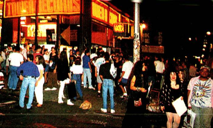 Tower Records, Manhattan just before midnight - lines formed in anticipation of Guns n' Roses - Mom Jeans and Hair Bands Unite.