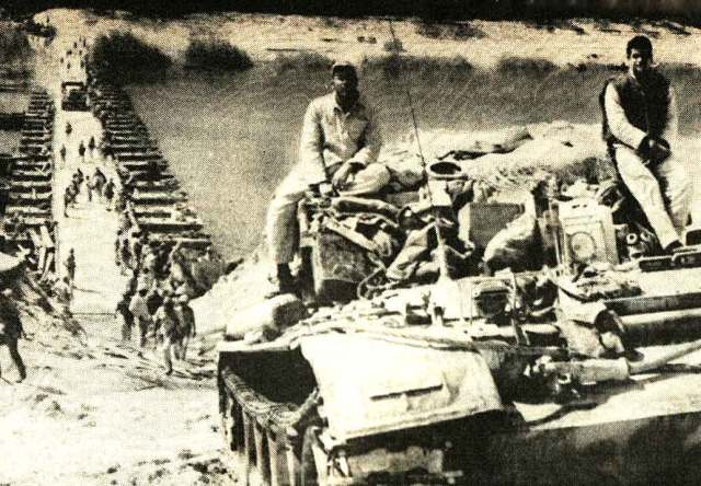 Egyptian tanks crossing the Suez, October 7.  The element of surprise was palpable.