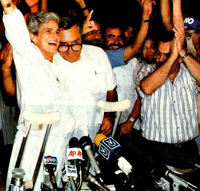 Violetta Chamorro - celebrating election victory in Nicaragua - new kid on the block - old block.