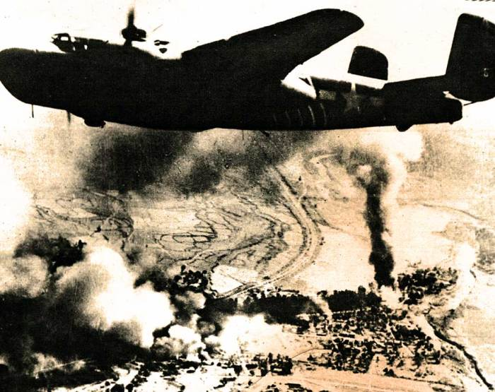 Routine and relentless Allied bombing runs in the Pacific.