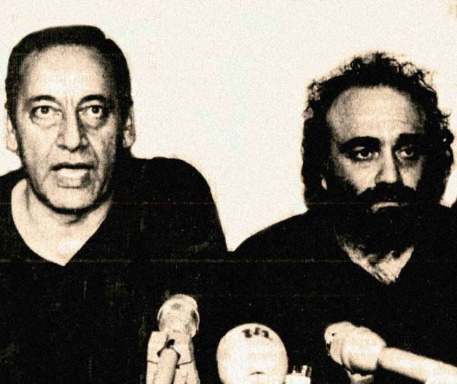 Hostage negotiator Nabih Berri (L) and freed popstar Demis Roussos (R) -  The U.S. and Israel remained non-plussed