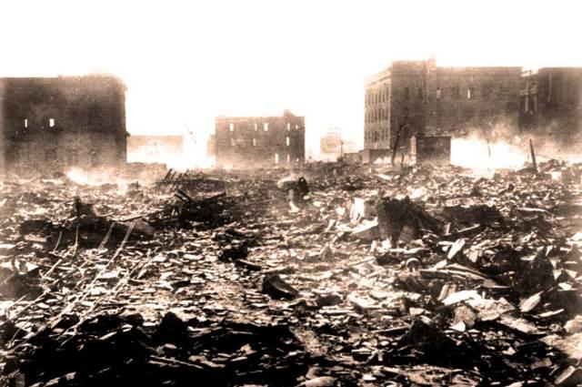 Hiroshima 2 days later - still smoldering.