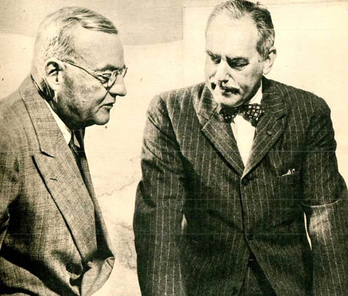 John Foster Dulles (l) - Dean Acheson (r) - architects of the treaty with Japan.