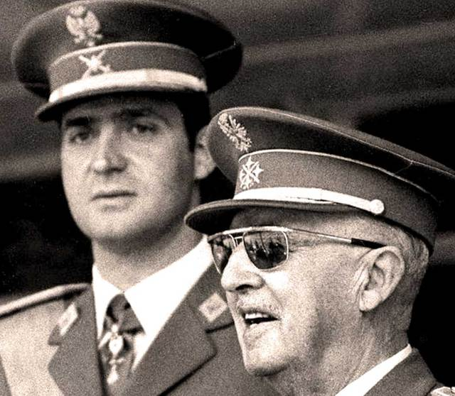Prince Juan Carlos (background) - Gen. Francisco Franco (foreground) - a transitions with strings.