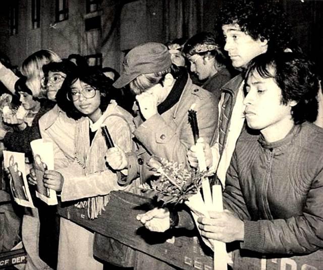December 8, 1980 - Fans outside the Dakota - shock, anger, sadness - numb.