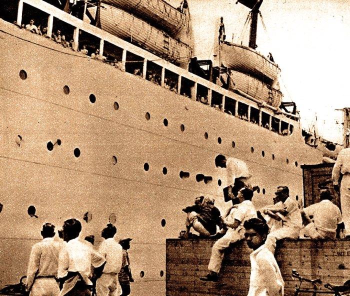 Last Ship of Dutch Nationals Leaving Jakarta
