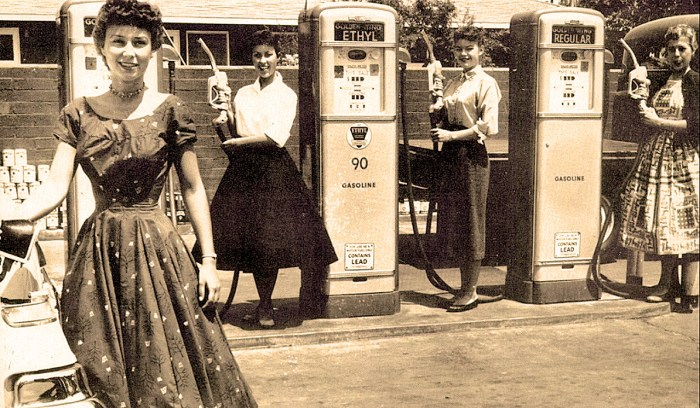 Teenagers at Gas Pumps in San Bernardino