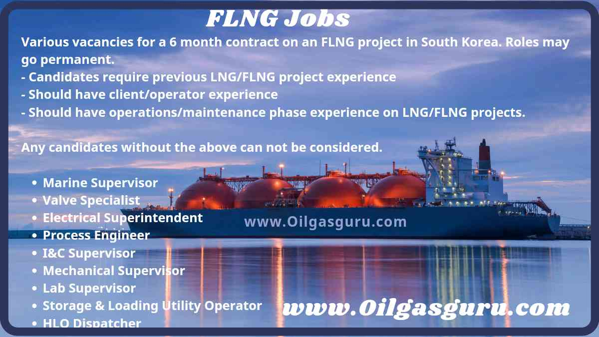 FLNG Jobs for Electrical, Mechanical, Instrument, Process Operators, Supervisors, Engineers