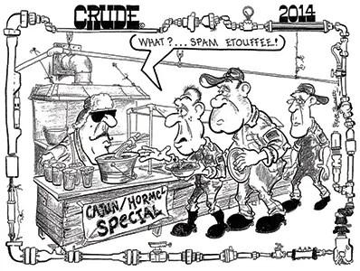 Oilman Cartoon - GOM Cutting Platform Maintenance Cost with SPAM