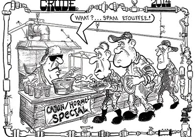 Oilman Cartoon - GOM Cutting Platform Maintenance Cost with SPAM