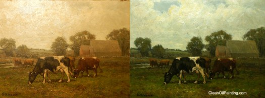 G A Hayes American Landscape With Cows Before And After Cleaning