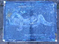 Drawing heavily from Leon Golub, this piece was painted with brushes and a serrated knife.