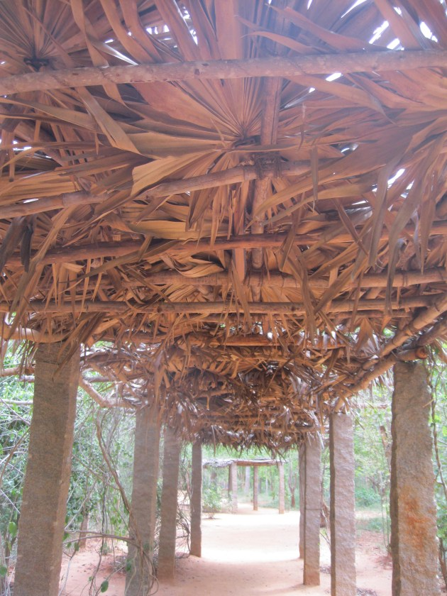 Under the roof made of dried leaves and stems