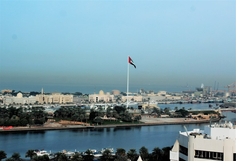 The Emirati tricolour flutters in the flag island