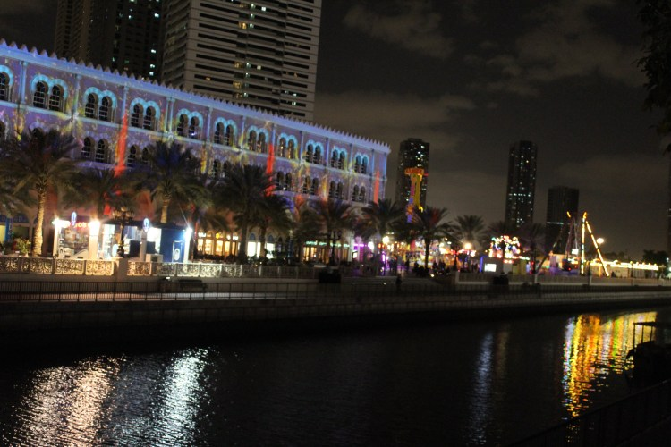 Al Qasba waterfront at night