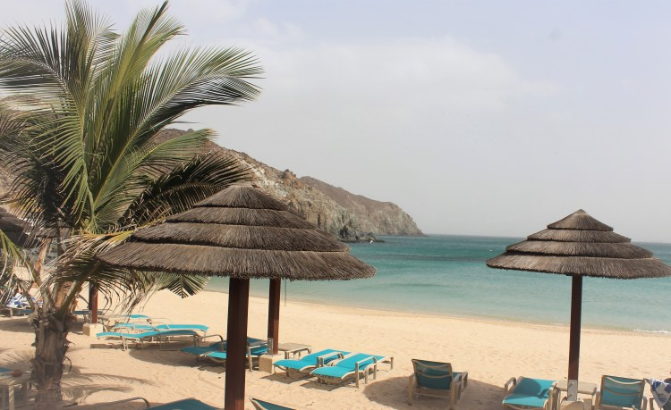 Chilling at the private beach of the Oceanic Resort at Khor Fakkan