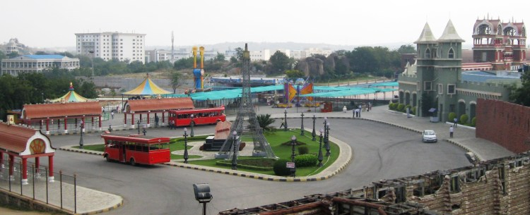 Aerial view of Ramoji Film City - where London, Paris and New York are side-by-side.