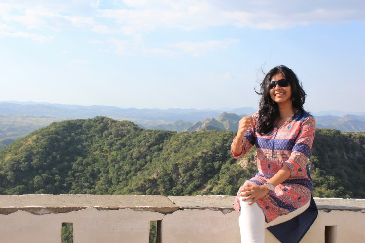 It's windy up here at Sajjangarh Fort!