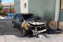 Carro incendiado na Estação da Guarda