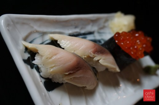 Saba and ikura sushi