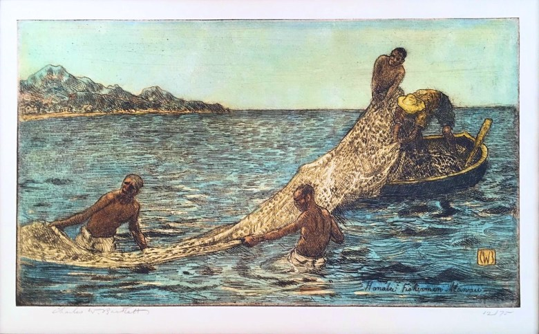 Hanalei_Fishermen,_Hawaii_,_hand_colored_etching_by_Charles_W._Bartlett,_c._1923
