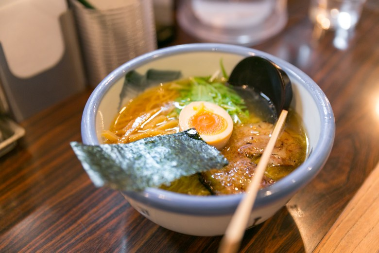 Photo Description: Afuri ramen in Japan, along with locations in the U.S. on the west coast. This bowl has nori, menma, hanjuku egg, chashu, and what looks to be mitsuba or mizuna in it.