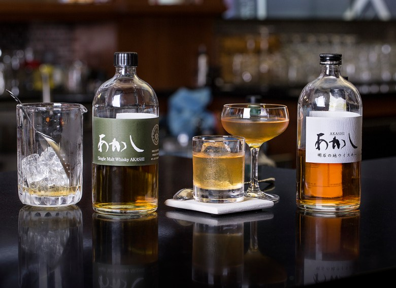 Photo Description: Single malt whisky by Akashi. Two bottles are shown on the rocks and neat.