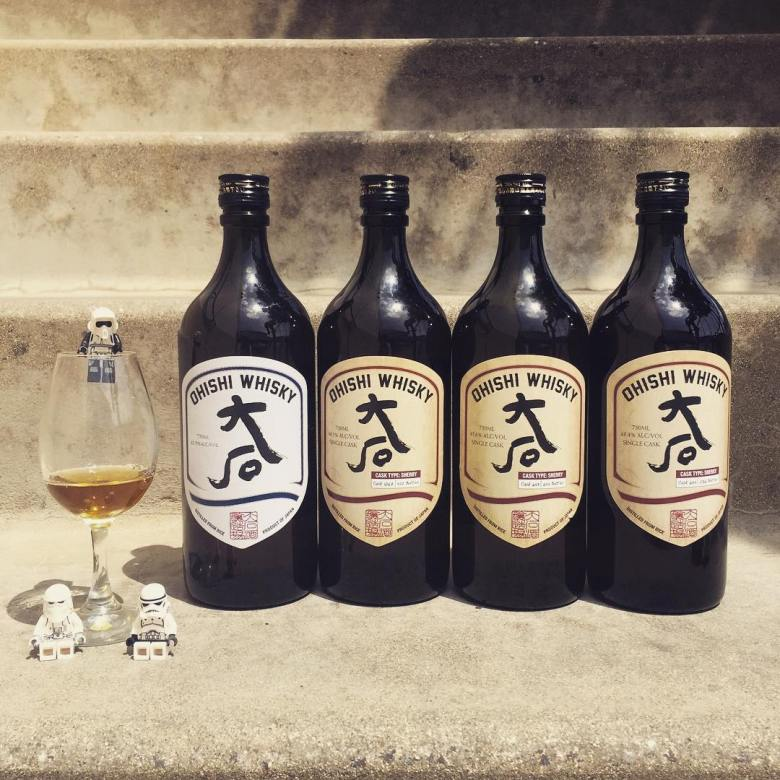 Photo Description: Ohishi Whisky is the other rice whisky. They have four bottles placed on some steps, with Lego stormtroopers. The image was shot by WhiskyAnorach.