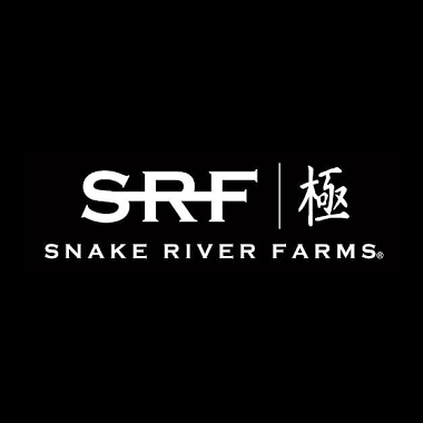 """Photo Description: the SRF logo which is black and white with kana. The text has """"snake river farms"""" spelled out."""
