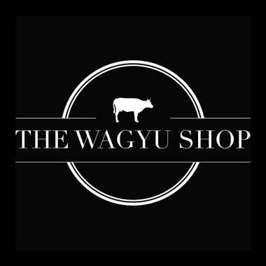 "Photo Description: if you are looking to buy Kobe beef online, the Wagyu Shop specializes in Wagyu. The logo has white serif style text ""the Wagyu Shop"" along with a picture of a cow on a black background."
