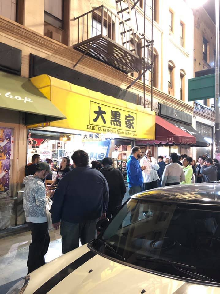 Photo Description: this is an all too common site to see in LA on 1st street at all hours of the night, a line in front of Daikokuya. Definitely one of the most popular restaurants on the block, along with the udon shop further down the block.